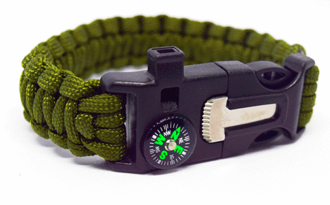 6 in 1 Army Green Survival Wilderness Bracelet |Flint, Compass, Whistle, Fire Starter, Scraper/knife, Strong Paracord Hook|