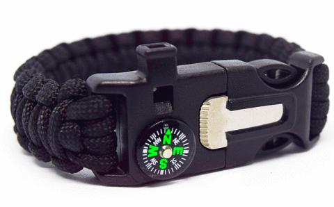 6 in 1 Black Survival Wilderness Bracelet |Flint, Compass, Whistle, Fire Starter, Scraper/knife, Strong Paracord Hook| ( Premade )