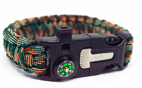6 in 1 Blue & Camouflage Survival Wilderness Bracelet |Flint, Compass, Whistle, Fire Starter, Scraper/knife, Strong Paracord Hook| ( Premade )