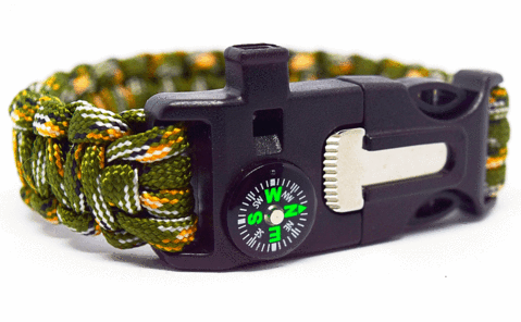 6 in 1 Green & Camouflage Survival Wilderness Bracelet |Flint, Compass, Whistle, Fire Starter, Scraper/knife, Strong Paracord Hook|