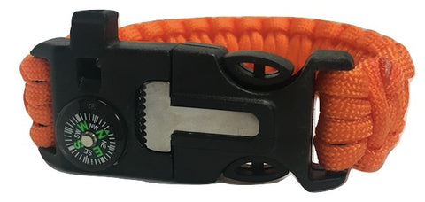 6 in 1 Orange Survival Wilderness Bracelet |Flint, Compass, Whistle, Fire Starter, Scraper/knife, Strong Paracord Hook| ( Premade )