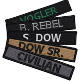 4inch-Custom Military Name Tape Tactical Patch - Hook Fastener/ Iron-on sew 100 colors_Made in USA