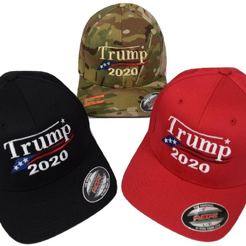 Genuine Flexfit Trump 2020 hat New Fitted MAGA Cap Embroidered in USA in Many Camo Colors