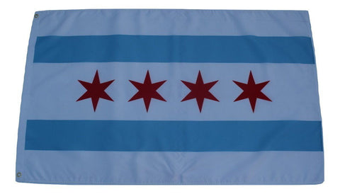 F62 Chicago City Flag 3'x5' Ft Polyester Wholesale & Bulk Price $2.40