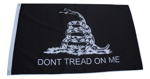 F83 Gadsden Flag Don't tread on me (black) 3'x5' Ft Polyester Wholesale & Bulk Price $2.40