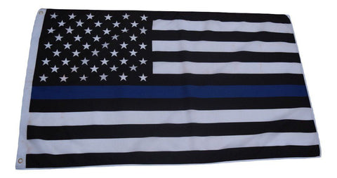 F75 Thin Blue Line American flag 3'x5' Ft Polyester Wholesale & Bulk Price $2.40 (Premade)