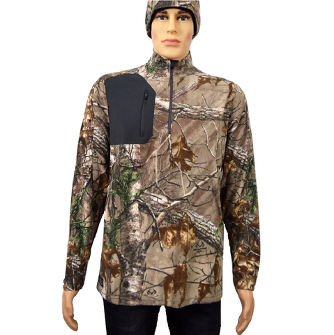 DRI DUCK Realtree Camo Sweater Interval DDX Quarter-Zip Jacket Nano Fleece Nylon Water Proof Pullover (Premade)