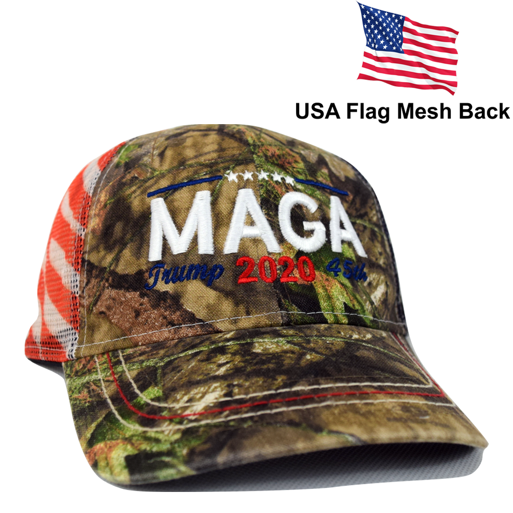 5d01bd79 Embroidered in USA Donald Trump 2020 MAGA Cap camo hat with american flag  Mesh Back