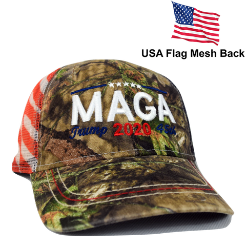 4a55b5d2c16bc ... Embroidered in USA Donald Trump 2020 MAGA Cap camo hat with american  flag sewn on visor ...
