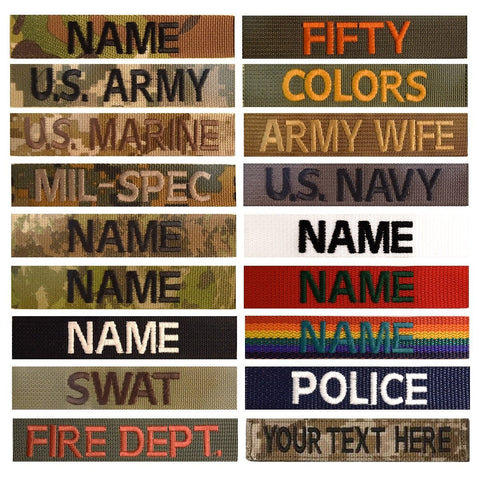 custom name tag black olive drab tan coyote brown navy red white ranger green hunter green foliage gray wolf gray rainbow