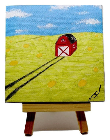"P12 ""Country Barn"" Acrylic Handmade Mini Canvas Painting Fine Art Office Home Decoration Made in USA"
