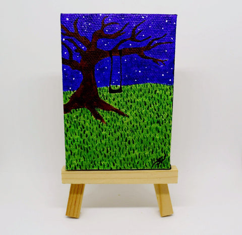 "P13 ""Midnight Swing"" Small Canvas Painting Office Home Decoration"