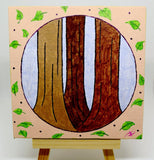 "P14 ""Peaceful Forest"" Acrylic Handmade Mini Canvas Painting Fine Art Office Home Decoration Made in USA"