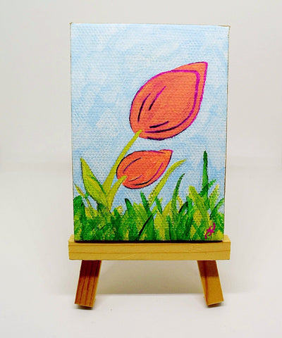 "P15 ""Simple Beginnings"" painting Acrylic Handmade Mini Canvas Painting Fine Art Office Home Decoration Made in USA"