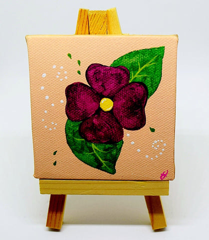 "P17 ""Happy Flower"" Acrylic Handmade Mini Canvas Painting Fine Art Office Home Decoration Made in USA"