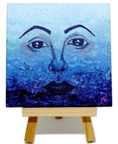 "P19 ""Feeling Blue"" Acrylic Handmade Mini Canvas Painting Fine Art Office Home Decoration Made in USA"
