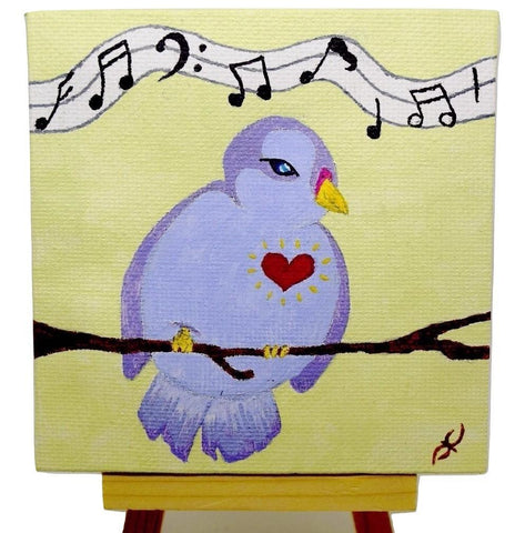 "P01 ""Female love bird"" Acrylic Handmade Mini Canvas Painting Fine Art Office Home Decoration Made in USA"