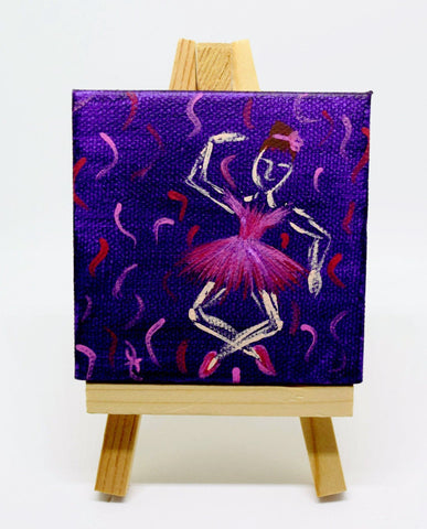 "P20 ""Purple Ballerina"" Small Canvas Painting Office Home Decoration"
