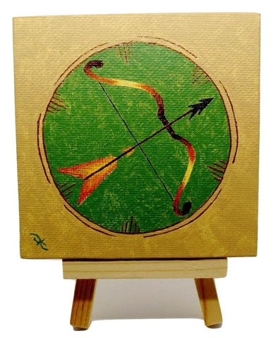 "P22 ""Bow & Arrow"" Acrylic Handmade Mini Canvas Painting Fine Art Office Home Decoration Made in USA"