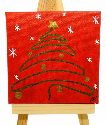 "P25 ""Holiday Christmas Tree"" Small Canvas Painting Office Home Decoration"