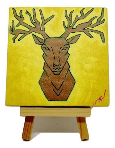 "P02 ""Majestic Deer"" small canvas Painting Office Home Decoration"