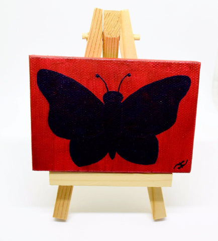 "P04 ""Dark Butterfly"" Small Canvas Painting Office Home Decoration"