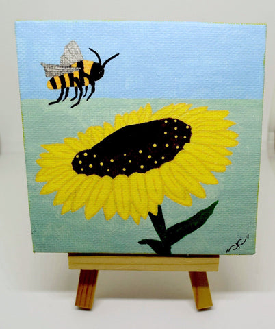 "P05 ""A Bee's love"" painting Acrylic Handmade Mini Canvas Painting Fine Art Office Home Decoration Made in USA"