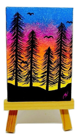 "P06 ""Morning forest"" Acrylic Handmade Mini Canvas Painting Fine Art Office Home Decoration Made in USA"