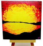 "P08 ""Sunset Fire Lake"" Acrylic Handmade Mini Canvas Painting Fine Art Office Home Decoration Made in USA"