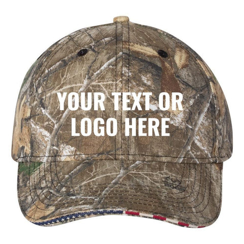 C52 Custom Embroidered Patriotic Camouflage caps Sandwich american flag your text or logo No Minimum quantity or hidden digitizing fees Six Panel RealTree camo hat