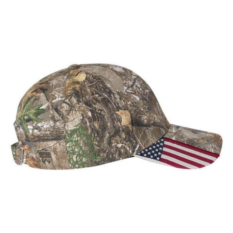 ... Custom Embroidered Patriotic Camouflage caps with american USA flag Sewn  on visor Six Panel RealTree ... 3b6bcd2c8301