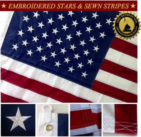 F10 US Flag Embroidered Stars and Sewn Stripes High Quality Heavy Duty USA 6'x10' Ft Nylon American Flag 210 D (Premade)
