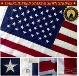 F09 US Flag Embroidered Stars and Sewn Stripes High Quality Heavy Duty USA 5'x8' Ft Nylon American Flag 210 D