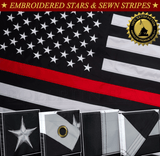 Thin Red Line Firefighter Flag Embroidered Stars Sewn Stripes 2 Brass Grommets 3x5 Ft American Heavy Duty Nylon USA Red Lives Matter Black White 210 D