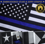 Thin Blue Line Police Flag Embroidered Stars Sewn Stripes 2 Brass Grommets 3x5 Ft American Heavy Duty Nylon Blue Lives Matter Black White 210 D