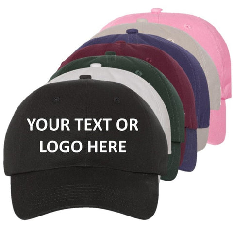 c807eaeb Embroidered Custom Caps Text or Logo 100% Cotton Six Panel Structured  Quality Hat No Minimum No Setup Fee