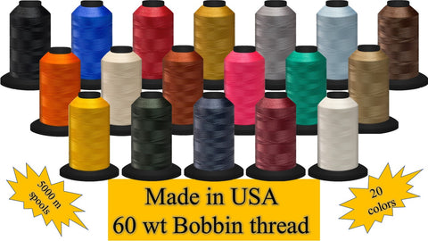 Fil-Tec 8200 Yards Huge Spool 60 wt Filament Polyester Embroidery Bobbin Thread 20 Colors - Made in USA
