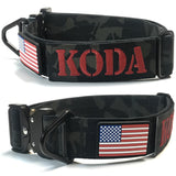 1.5 inch Personalized Tactical Dog Collar Cobra Buckle Custom embroidered K9 Police Service dog Collar with USA Flag Camo Thick Service collar