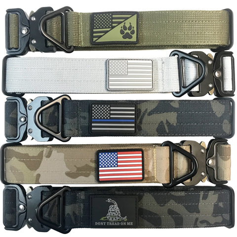 1.5 inch Tactical Dog Collar K9 Collar with USA Flag Blue Line Camo Thick Police Service Dog Collar Cobra Buckle