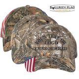 Custom Embroidered Patriotic Camouflage caps with american USA flag Sewn on visor Six Panel RealTree / Mossy Oak Camo Hats No Minimum No Setup Fee