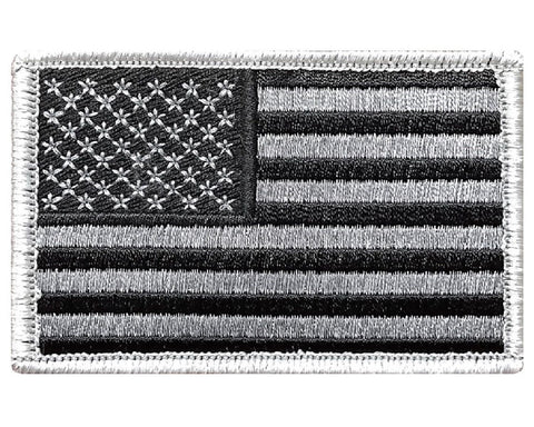 "V7 Tactical USA flag patch 2""x3"" Hook fastener Subdued Silver *Made in USA* - Bullrun Flag Embroidery"