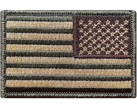 "V11 Reversed Tactical USA flag patch 2""x3"" Hook Fastener Backing Multi Tan Multicam *Made IN USA* - Bullrun Flag Embroidery"