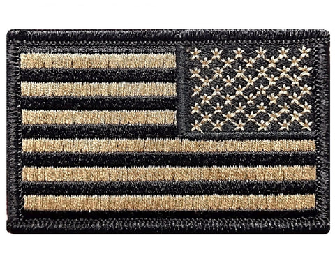 Reverse Tactical USA flag Patch Hook Fastener Backing Coyote Tan *Made in USA* - Bullrun Flag Embroidery