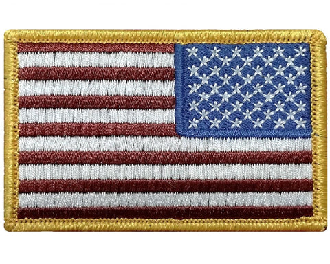 "V17 Reverse Tactical USA flag patch 2""x3"" hook fastener red white blue golden edges *Made in USA* - Bullrun Flag Embroidery"