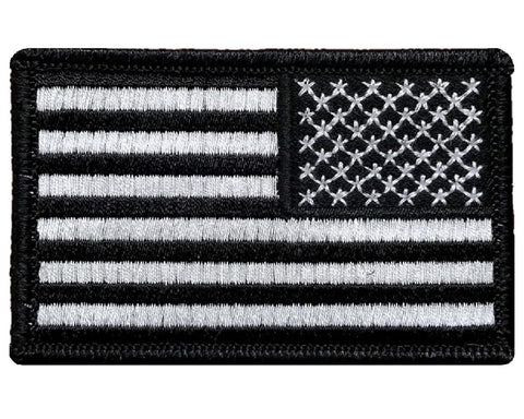 "V18 Reverse Tactical USA flag patch 2""x3"" Hook Fastener Black&White *Made In USA* - Bullrun Flag Embroidery"