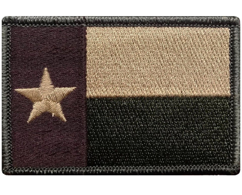 "V19 Tactical TEXAS flag patch 2""x3"" Hook Fastener Multi- Tan Multicam *Made in USA* - Bullrun Flag Embroidery"