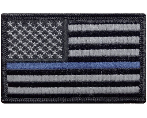 "V29 Tactical Thin Blue line Law Enforcement Police patch USA flag Subdued Grey 2""x3"" hook fastener *Made in USA* - Bullrun Flag Embroidery"