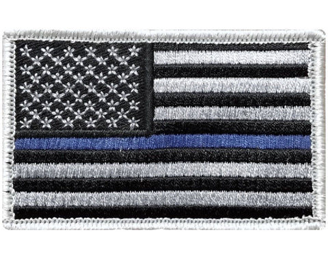 "V30 Tactical Thin Blue line patch Law Enforcement Police Silver USA flag 2""x3"" Hook Fastener *Made in USA* - Bullrun Flag Embroidery"
