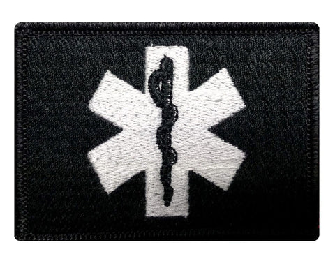 "V33 Tactical EMT / EMS star of life Emergency Medical patch 2""x3"" Hook Fastener Black & White *Made in USA* - Bullrun Flag Embroidery"