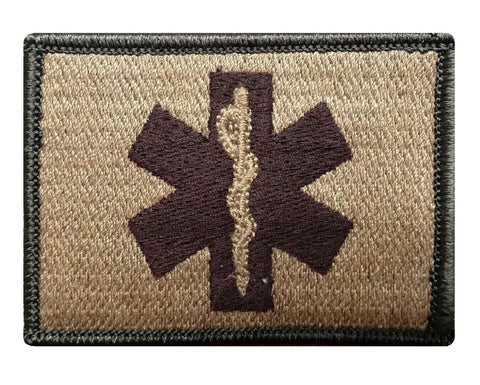 "V35 Tactical EMT / EMS star of life Emergency Medical patch Multi-Tan Multitan Coyote Brown 2""x3"" hook Fastener Backing *Made in USA* - Bullrun Flag Embroidery"